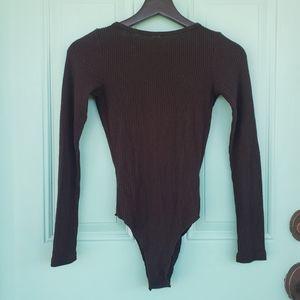 LNA Revolve black ribbed open back bodysuit